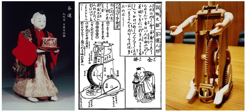 Chahakobi Ningyo (Tea Serving Doll) by TAMAYA Shobei IX, and plan from 'Karakuri Zuii' ('Karakuri - An Illustrated Anthology') published in 1796