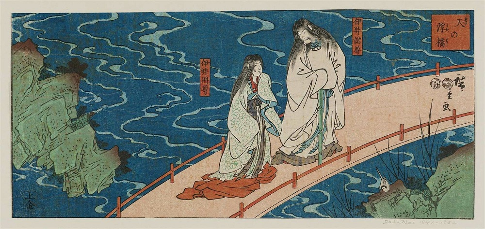 Utagawa Hiroshige Izanami and Izanagi on the Floating Bridge of Heaven